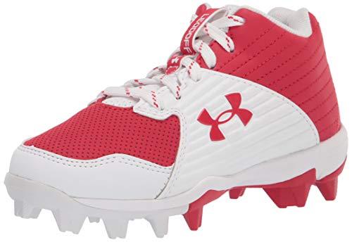 Under Armour Boy's Leadoff Mid RM Jr. Baseball Shoe, Red (600)/White, 6 Big Kid