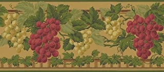 Waverly Sonoma Valley Collection Wall Border 5509634 Goldenrod Yellow Wallpaper Wine Grapes Country Grapevine Clusters Rich Greens Yellows Reds Home Decor