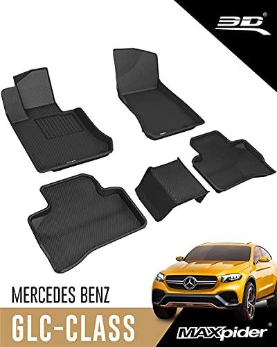 3D MAXpider Mercedes-Benz GLC Classe X253 2016-2021 Tapis de Sol en Caoutchouc Voiture pour Tous Temps Antidérapant Imperméable Recouvrement Total