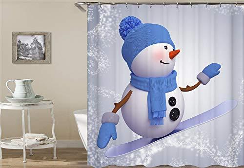 ZZZdz De sneeuwman draagt een blauwe muts en een sjaal. Al-Skate-spel. Douchegordijn. Waterdicht en gemakkelijk te reinigen. 180 x 180 cm.