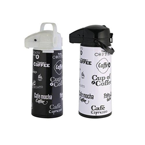 axentia 121564 Pumpkanne in schwarz O. weiß aus Edelstahl - AIRPOT 1, 9 L, Edelstahl, 13.5 x 18 x 35.5 cm, farblich sortiert