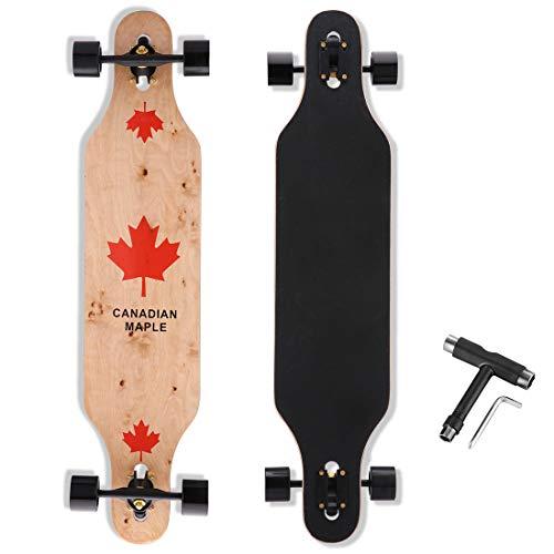 Longboard Skateboard, 41-Inch Downhill Skateboard Through Deck 8-Layer Canadian Maple