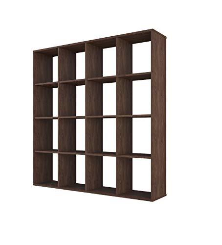 Polini Home separador de ambientes estante de pie vintage marrón 16 compartimentos, 03226