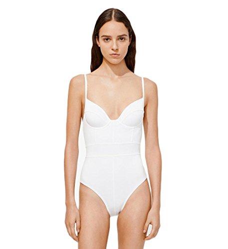 Proenza Schouler Underwire Bustier One Piece Swimsuit White (M)