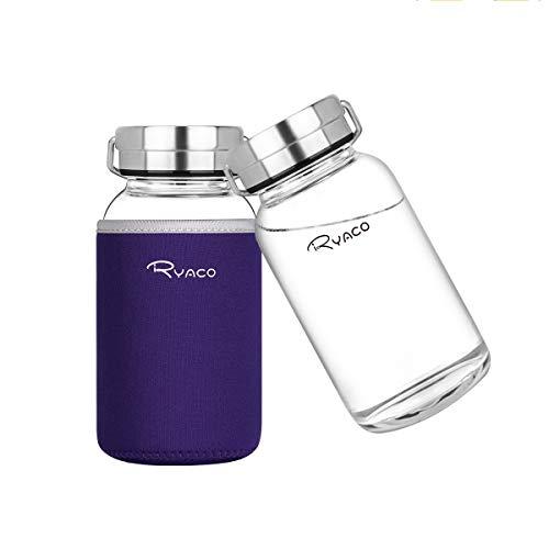 Ryaco Botella de Agua Cristal 800 ML, Boca Ancha Botella de Agua Reutilizable, Sin BPA Antideslizante Protección Neopreno Llevar Manga y Cepillo de Esponja (800ml, Morado)
