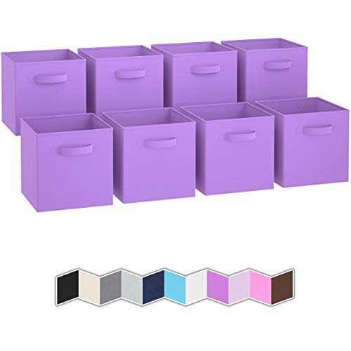 Royexe Storage Bins - Set of 8 - Storage Cubes | Foldable Fabric Cube Baskets Features Dual Handles. Cube Storage Bins. Closet Shelf Organizer | Collapsible Nursery Drawer Organizers (Purple)