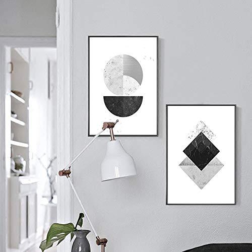 ZHQHYQHHX Cuadro decorativo moderno nórdico geométrico simple negro 2 piezas pintura mural pared dormitorio hogar salón sofá 30 * 40/40 * 60 cm pintura colgante