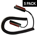 Universal Coiled Security Cable - Black - Bulk Pricing Available - Remote Control Tether Security Cable Leash with Velcro and Double-Sided Tape (5-Pack)