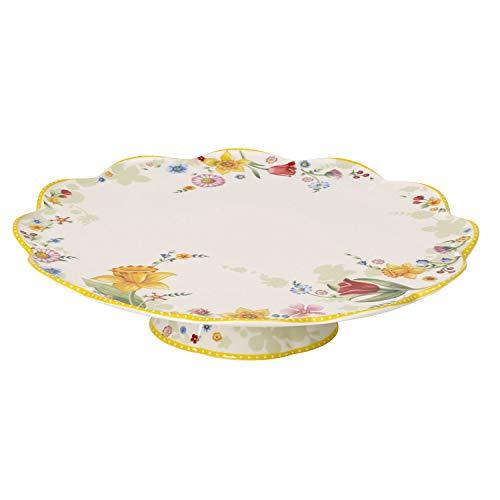 Villeroy & Boch Spring Awakening Plat de service à gâteau, 33 cm, Porcelaine, Blanc/Multicolore