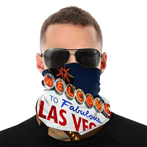 BDGAjdka Welcome to The Las Vegas Sign Face Face Scarf Bandanas, Multi-Functional Full-Coverage Tube Face Scarfs, Neck Gaiter, Half Balaclava, Magic Scarf, for Women Men Unisex