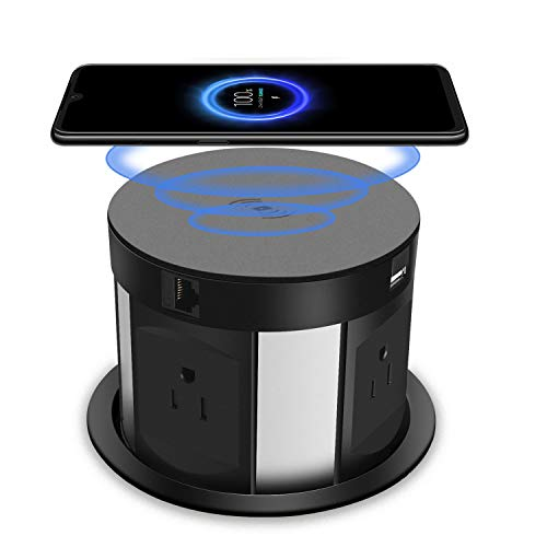 4.7inch Automatic Pop Up Sockets,Retractable Recessed Power Strip,Pop Up Power Strip 4 Outlets,with Wireless Charger,2 USB Charging Ports, RJ45 Port,HDMI Port for Office Table and Workshop (Black)
