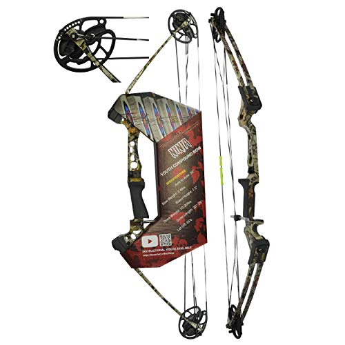 """Southwest Archery Ninja Kids Youth Compound Bow Kit - Fully Adjustable 20-29"""" Draw 10-20LB Pull - 55% Let Off - Pre-Installed Arrow Rest - Finger Saver String - RH, Camo"""