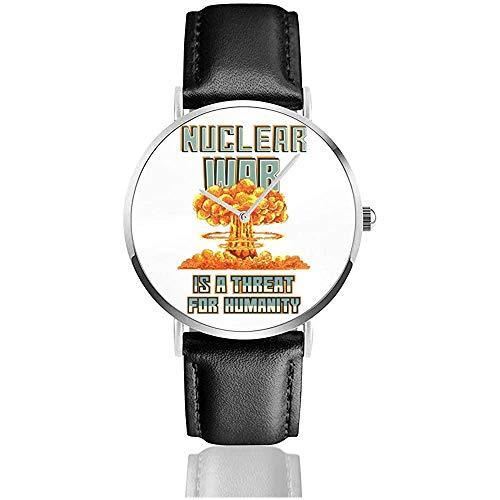 Unisex Nuclear War ist eine Bedrohung für die Menschheit Nukleare Explosion Pixel Art Uhren Quarz Lederuhr mit schwarzem Lederband