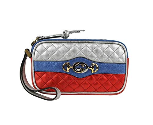 Gucci Women's Dionysus Quilted Red/Silver Metallic Leather Phone Case Wristlet 542202 8172
