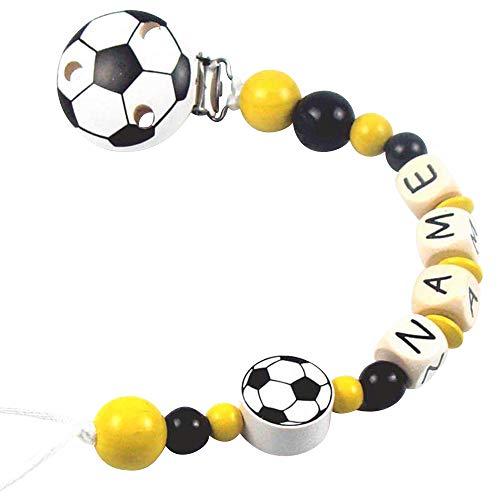 PREMIUM Schnullerkette mit Namen Modell Fußball gelb schwarz