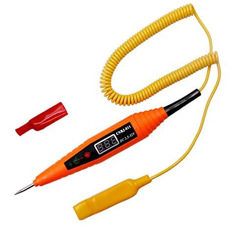 CNmuca Caneta de teste de circuito elétrico de carro com visor digital Detector de testador de tensão automotiva Medidor de tensão automática Caneta de teste de sonda de energia laranja