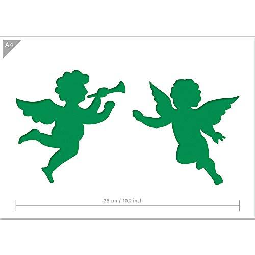QBIX Weihnachtsengel Schablone - A4 Größe - Weihnachtsdekoration - Wiederverwendbare kinderfreundliche Schablone für Malerei, Fenster, Kunsthandwerk, Wand, Möbel
