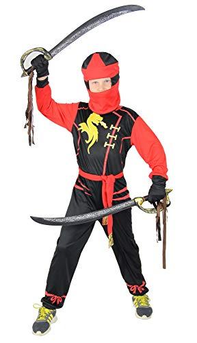 Foxxeo Ninja Kostüm für Jungen - Größe 92 bis 134 - schwarz rot - Kinder Krieger Kostüme Fasching Karneval, Größe 122-128