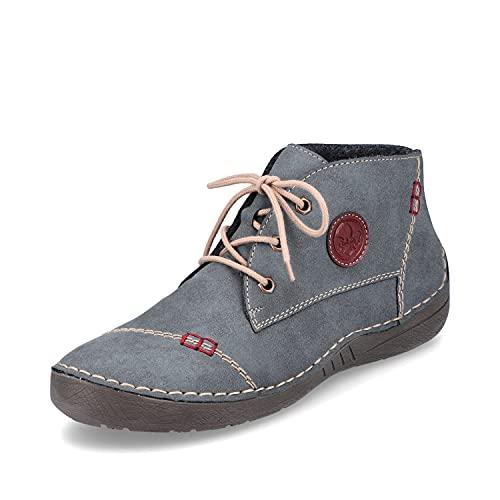 Rieker Damen Bequemschuhe 52540, Frauen Schnürhalbschuhe,Womens,Woman,Lady,Ladies,Schnuerschuhe,Schnuerer,straßenschuhe,Shoes,blau (14),42 EU / 8 UK