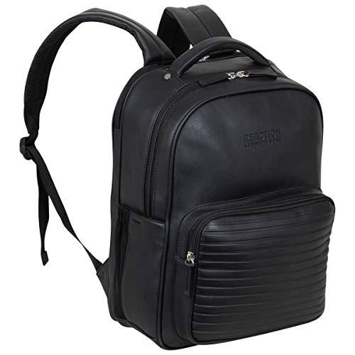 "Kenneth Cole On Track Pack Vegan Leather 15.6"" Laptop & Tablet Bookbag Anti-Theft RFID Backpack for School, Work, & Travel, Black, Laptop"