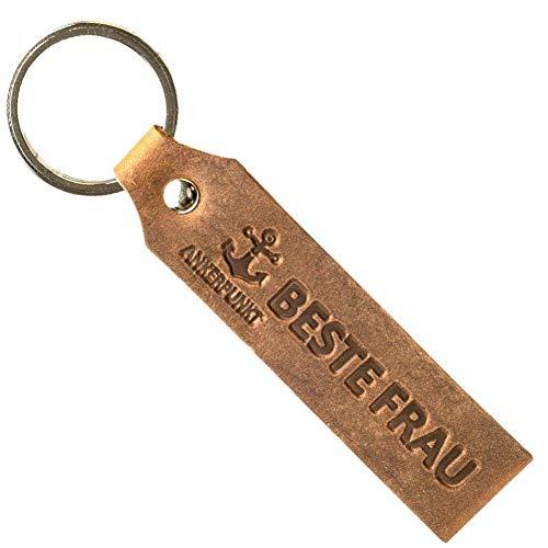 ANKERPUNKT Schlüsselanhänger Leder mit Gravur Beste Frau - Geschenke für Frauen beste Freundin Muttertagsgeschenk - Geschenkidee zum Geburtstag Jahrestag - Made in Germany (Dunkelbraun)