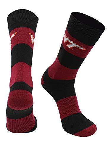 Virginia Tech Hokies Game Day Striped Socks (Maroon/Black, Large)