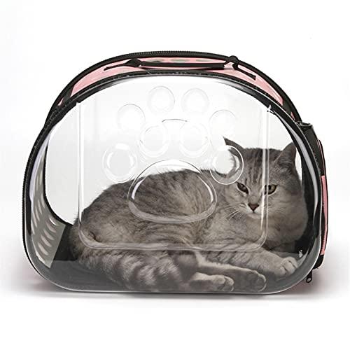 Transportín Gato Perro Bolsa de gato transparente Bolsos portátiles transpirables Portátil Portátil Bolso de viaje al aire libre para gatitos Puppy Gatos plegables Lleve Bag Bolsa Transporte Mascotas