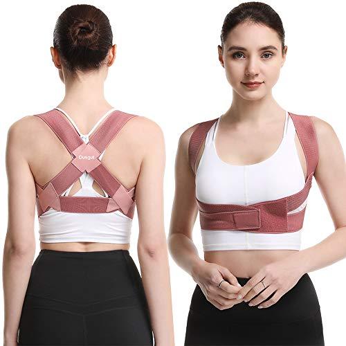 Dusgut Corrector de postura de espalda para mujeres y niños, soporte ajustable y transpirable para espalda que proporciona alivio del dolor de espalda, hombros, cuello (S)