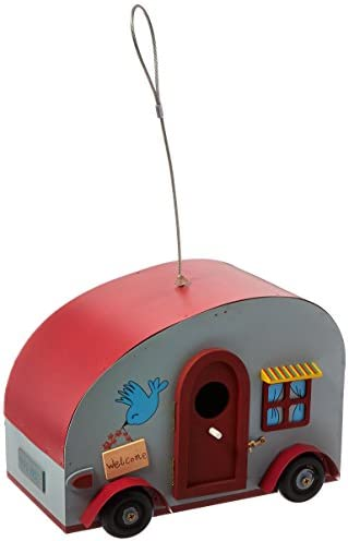 WildBird Care Hanging Birdhouse Painted Wood Camper Trailer House 02 product image