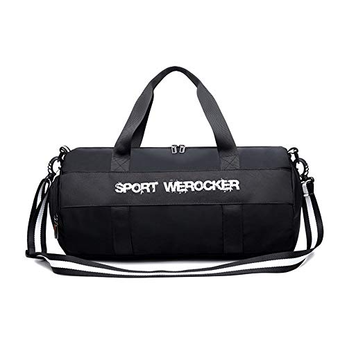 Duffel Bag Sport Bag Training Handbag Weekend Overnight Bag for Sport Traveling Swimming Yoga Hiking Camping (Color : Black, Size : 49x24x24cm)