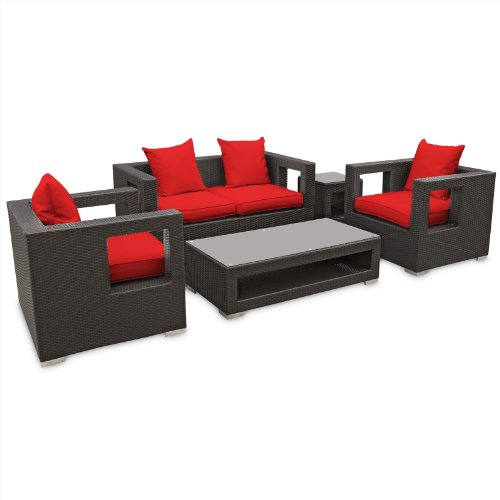 Big Sale LexMod Lunar Outdoor Wicker Patio 5 Piece Sofa Set in Espresso with Red Cushions
