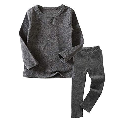 Little Kids Long Johns Thermal Underwear Set 2PC Crewneck Tops and Bottom Toddler Boys Girls Pajamas Warm Jammies,(Gray,5T)