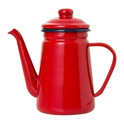 ZMHVOL 1.1L High-Grade Enamel Coffee Pot Pour over Milk Water Jug Pitcher Barista Teapot Kettle for Gas Stove and ICooker (Red) BPA-Free Tea Kettle WANGHN