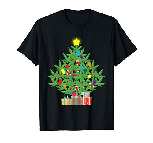 Cannabis Blatt Weihnachtsbaum Weihachten Gras Rauchen Kiffer T-Shirt