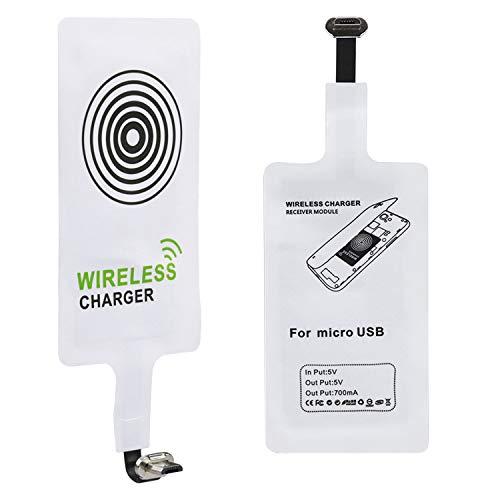 Qianyou Qi Empfänger, Universal Micro USB Shnittstelle Sehr dünn Wireless Ladegerät Receiver Empfänger Induktives Laden für Samsung Galaxy S3/S4/, Sony, LG,MEIZU, & anderes Android-Handy,Weiß