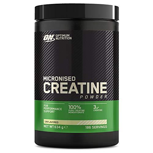 Optimum Nutrition Micronised Creatine Monohydrate, Creatina Monoidrato in Polvere, Integratori da Palestra per la Performance, Non Aromatizzato, 186 Porzioni, 634 g, il Packaging Potrebbe Variare