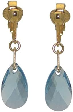 LA POIRE Gold Plated Aquamarine Crystal Clip On Earrings