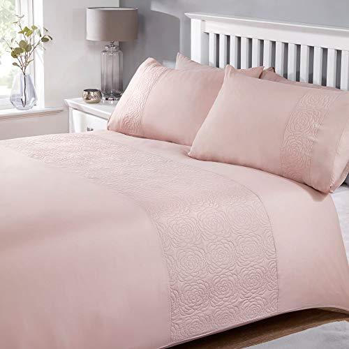 My Home My Home Layla Blush Parure de lit avec Motif Floral Pinsonic et oreillers Assortis, Polyester, Rose poudré, King