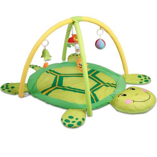 Infantastic Spieldecke mit Spielbogen - Schildkröte Design, Größe L 122/90 cm, mit Sensorik Spielzeug und Musik, ab 0 Monaten - Erlebnisdecke für Baby, Krabbeldecke, Spielmatte, Spielteppich