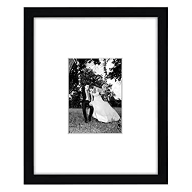 Americanflat 11x14 Black Wall Picture Frame - Matted to Fit Pictures 5x7 Inches or 11x14 Without Mat - Protective Glass Covering Front