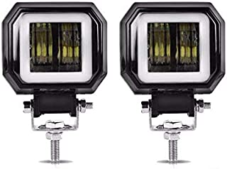 2PCS 3 inch 6000K 40W White fog light 10-80V DC waterproof square LED angel eye light strip off-road vehicle boat led work light motorcycle light warranty 3 years