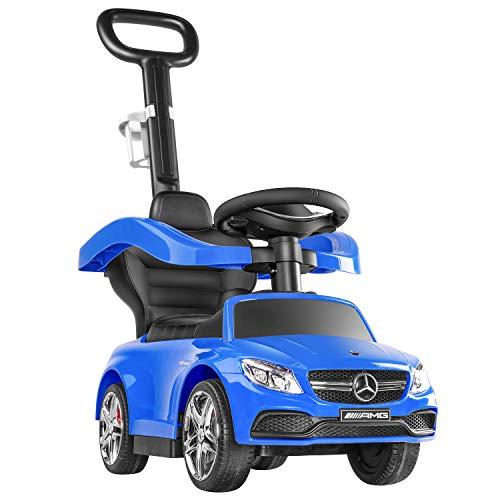 Ride on Toys for 1 Year Old- BABLE Push Cars for Toddlers, Push Car Stroller for Kids to Ride with Handle Safety Bar Cup Holder, Ride on Car for 1 Year Old Boys or Girls, Blue
