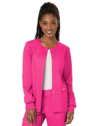 CHEROKEE WW Revolution Snap Front Scrub Jacket, WW310, S, Electric Pink Mississippi