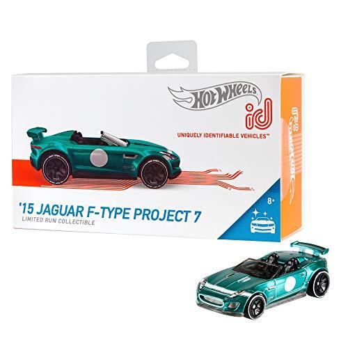 Hot Wheels iD FXB18 - Die-Cast Fahrzeug 1:64 '15 Jaguar F-Type Project 7 mit NFC-Chip zum Scannen in der Hot Wheels iD App, Auto Spielzeug ab 8 Jahren