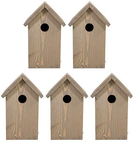 mgc24 Nistkasten - wetterfeste Nisthilfe aus Holz für heimische Wildvögel, 15,5 x 14 x 25 cm, braun, 5 Stück