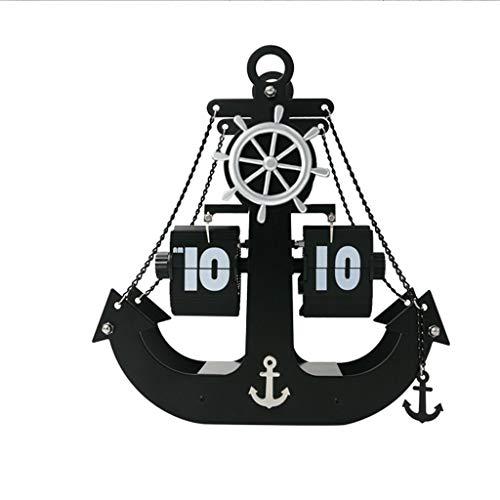 xuejuanshop Reloj de Escritorio Retro Reloj mecánico Reloj automático Flip Reloj Sala de Estar Comedor Escritorio Decoración Reloj Pirata Ancla Reloj Reloj de Estante