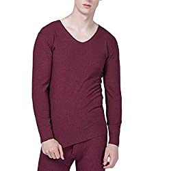 OneTwoTG Mens Winter Warm Lightweight Long Sleeve V-Neck Solid Underwear Tops