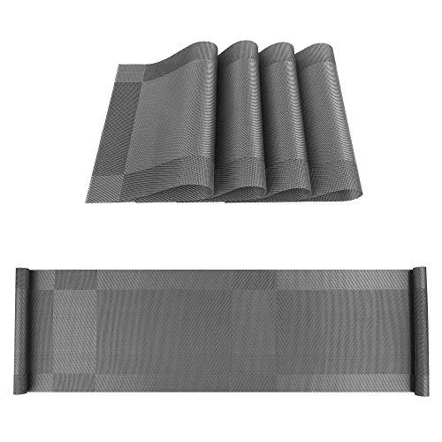 ISIYINER Table Runner y Manteles Individuales Antideslizante Lavables PVC Placemats Juego de 4 con Corredores de Mesa a Juego para Casa Restaurante Mesa de Comedor 30 x 135 cm