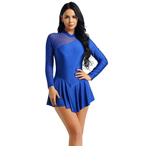 inlzdz Vestido de Patinaje Artístico para Mujer Maillot Manga Larga Espalda Abierta con Lazo Falda Pisada para Chica Vestido de Danza Ballet Leotardo de Gimnasia Azul Oscuro Medium