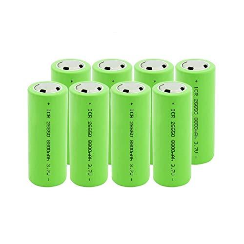 MGLQSB 26650 3.7v 8800mah Batería De Iones De Litio, Batería Recargable BateríAs Seguras Uso Industrial De Litio Adecuado para Batería De Linterna 8PCS